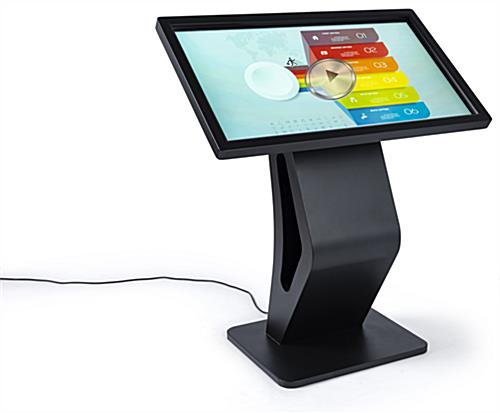 "Electronic touchscreen floor display kiosk with vibrant 43"" interactive panel"