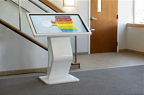 Touch screen directory floor stand for interactive navigation and wayfinding