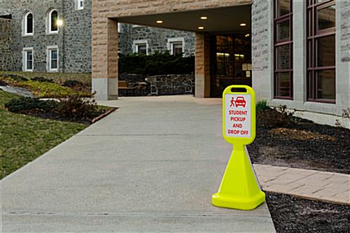 Outdoor cone sign is highly visible