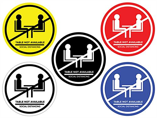 Social distance table markers with anti-skid design