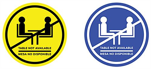 Bilingual social distancing table decal created in vivid color graphics