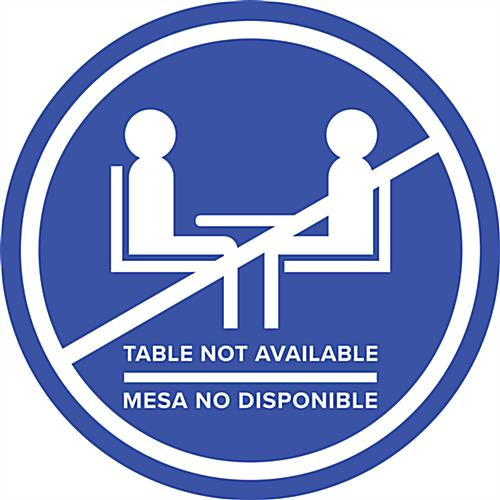 Blue bilingual social distancing table decal with non-skid vinyl