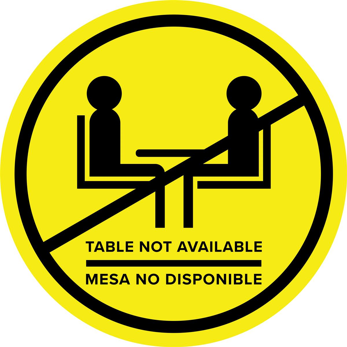 Yellow bilingual social distancing table decal with non-skid vinyl