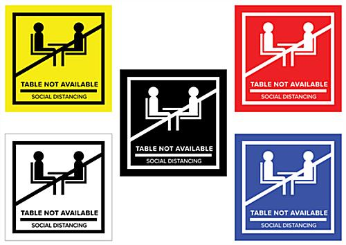 No seating table sticker with self-adhesive backing