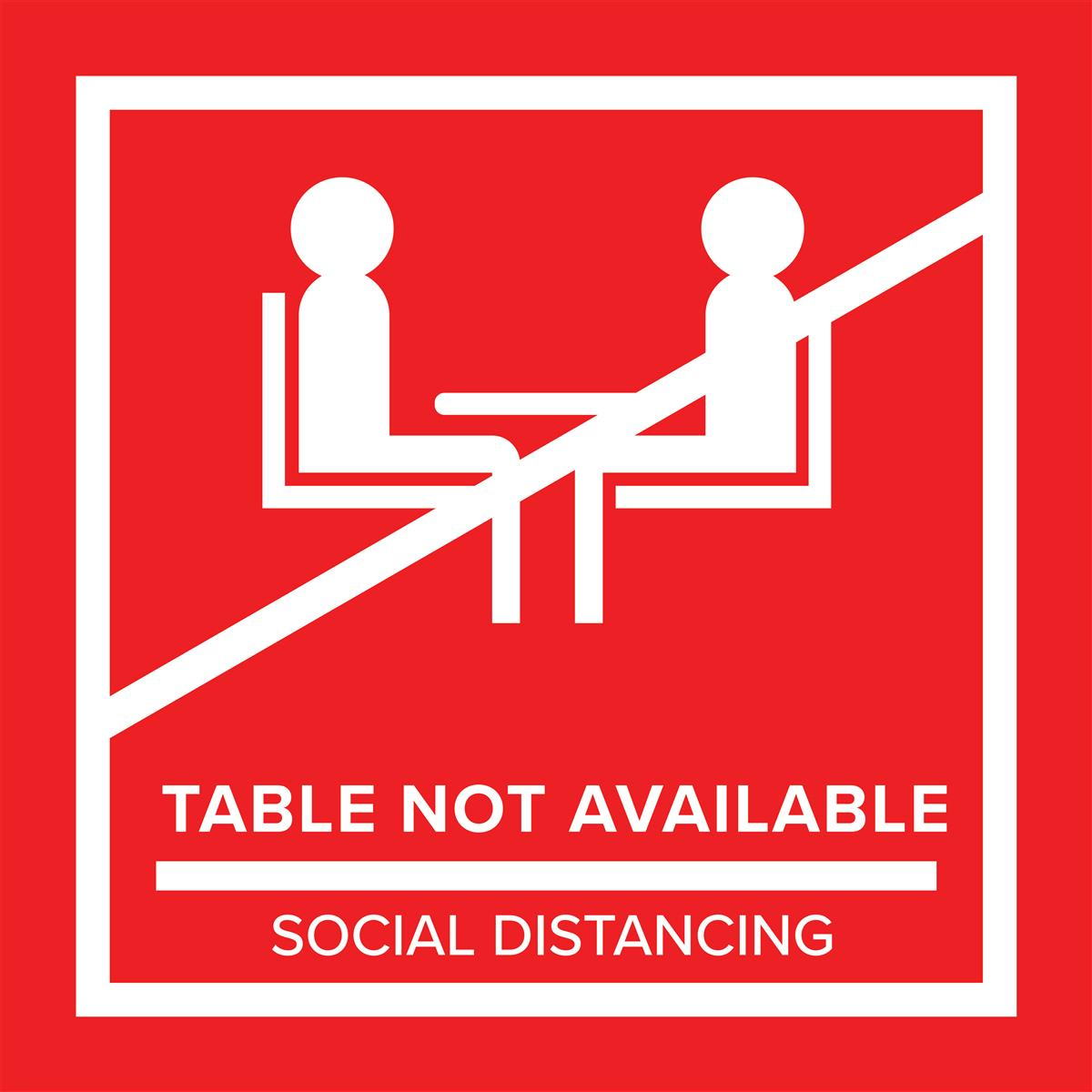 Red removable no seating table sticker