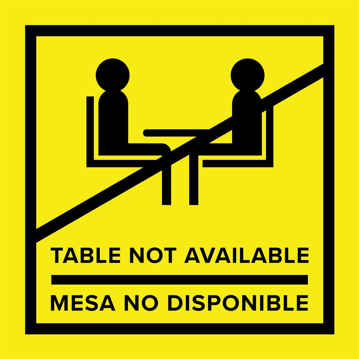 Yellow vinyl no seating bilingual table top sticker
