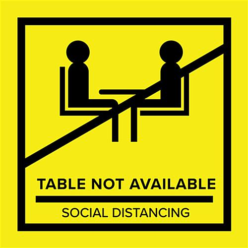 Yellow removable no seating table sticker