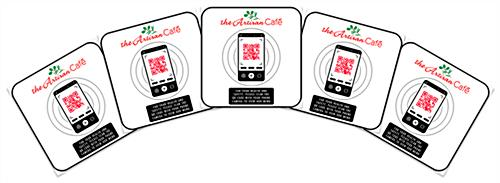 Custom printed decals with QR code and low-tack adhesive backing