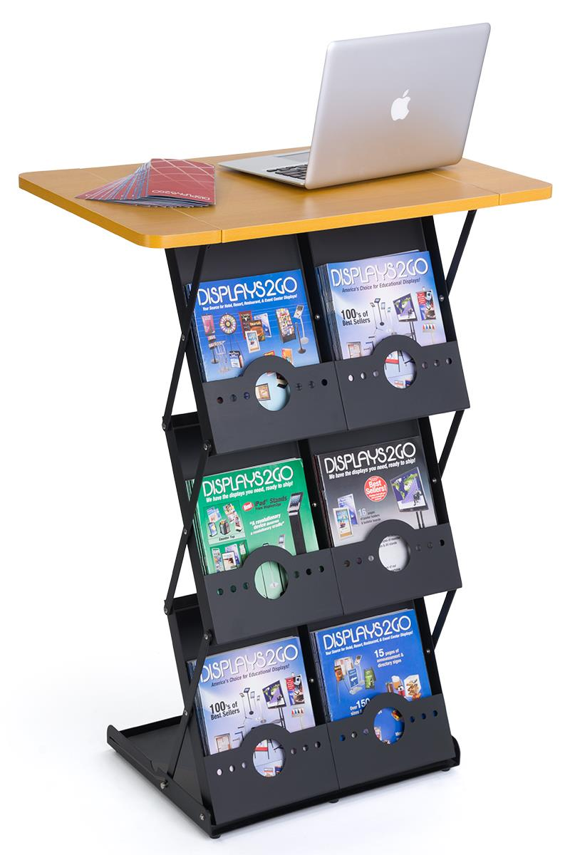 Folding Magazine Rack With Tabletop 6 Literature Pockets