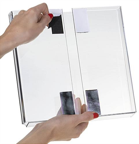 Brochure Holder with 4 Hook and Loop Strips