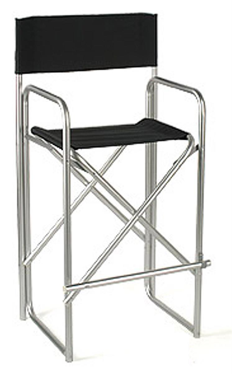 Folding Directors Chair With Aluminum Frame And Black Canvas