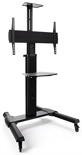 Height adjustable widescreen monitor stand on wheels