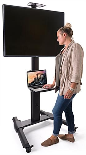 110 lb weight capacity widescreen monitor stand on wheels
