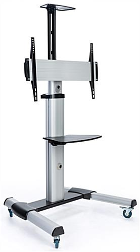 Height adjustable rolling TV stand for flat screen TV