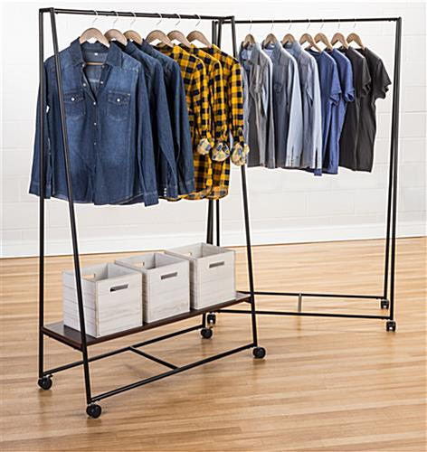 Pipe A-Frame Clothes Rack with Wood Shelf with Shelf Accessories