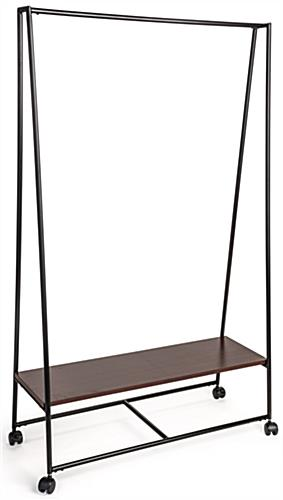 Pipe A-Frame Clothes Rack with Wood Shelf