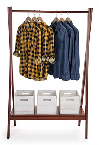 Cherry wooden a frame clothing rack with base shelf