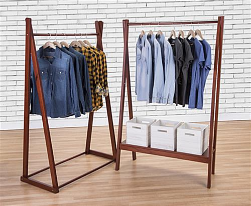Wooden a frame clothing rack with base shelf shown with complementary fixture (sold separately)