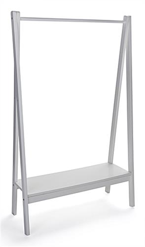 Single apparel rod wood teepee clothing rail with base shelf