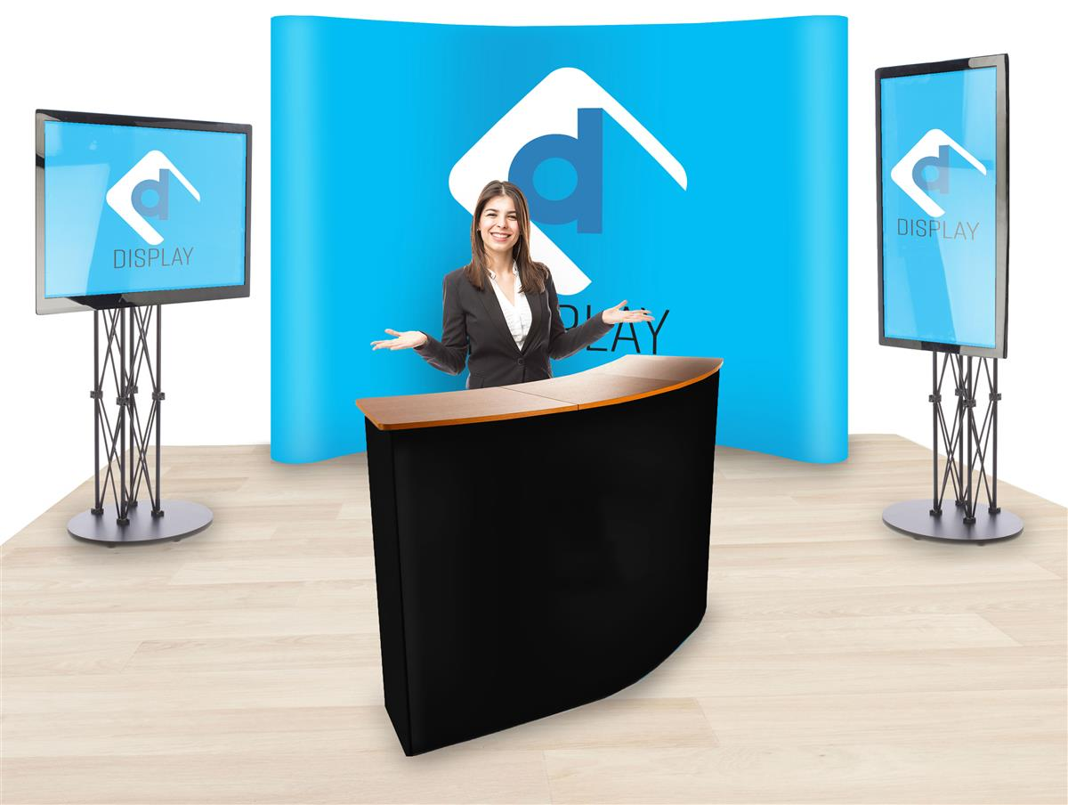 Trade Show Booth With 10 Custom Printed Backdrop 2 Tv Stands Counter