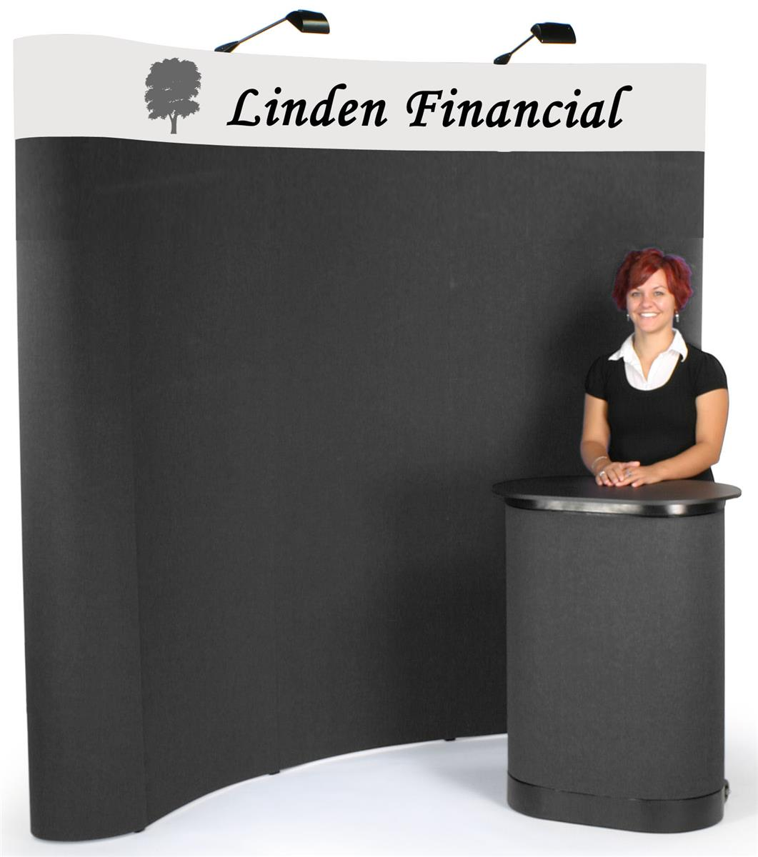 Exhibition Booth Header : Exhibition booth curved pop up display w custom header