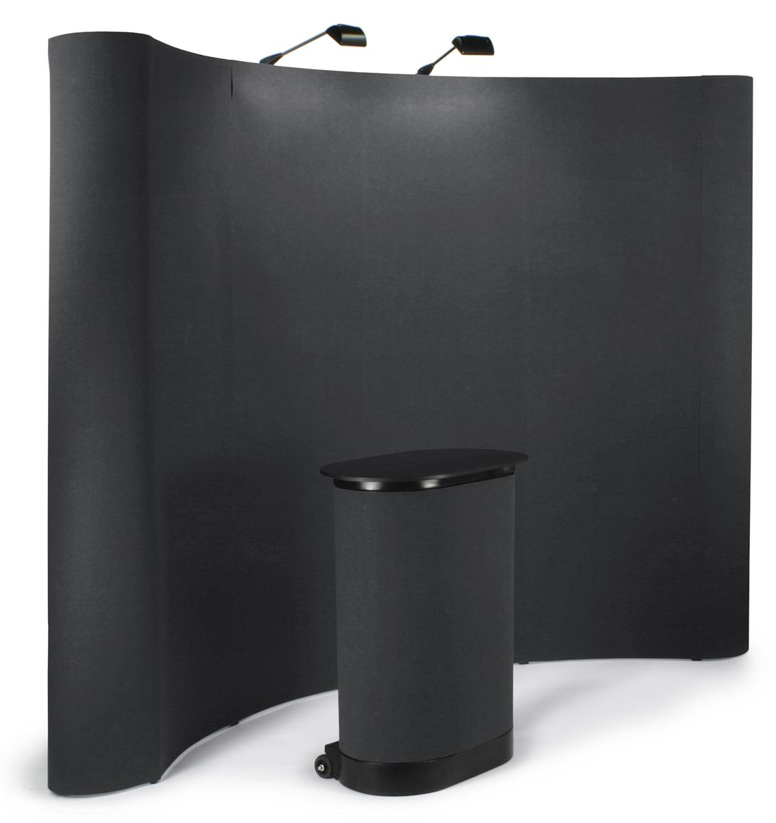 Fabric Pop Up Exhibition Stands : Pop up booth tradeshow display w counter lights