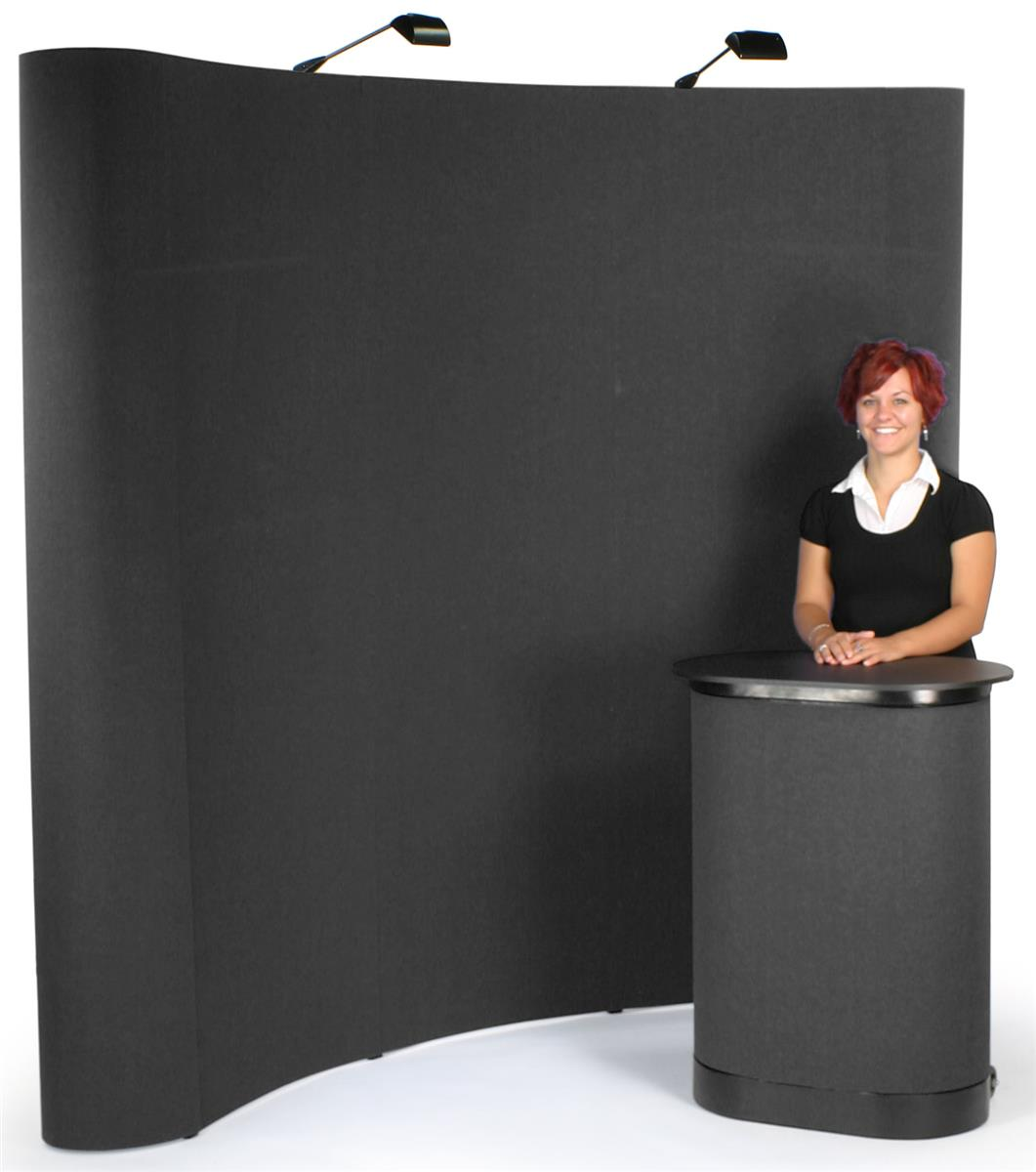 Trade Show Booth Loop : Pop up booth curved front hook loop board