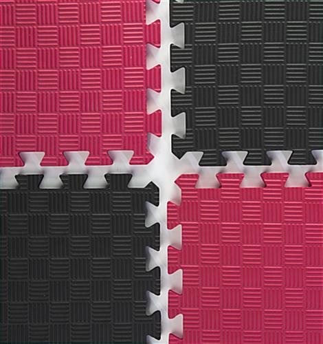 Red & Black Mix and Match Trade Show Mats - Jigsaw Style Tiles