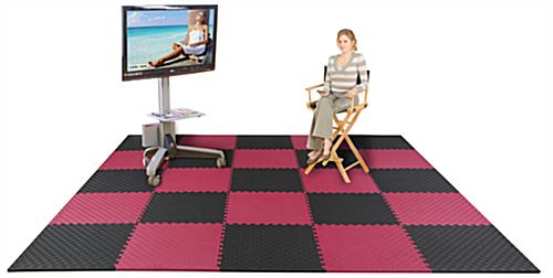 Red & Black Mix and Match Trade Show Mats - Odorless & Non-Toxic