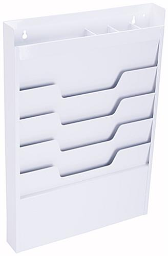 White Wall File for Hanging, 4 Pockets & Top Cubby