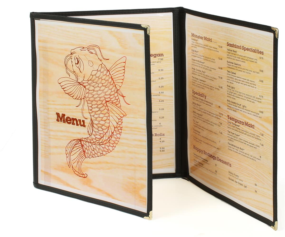 Tri Fold Menu Folder 6 Sheet Book Gold Corner Protectors