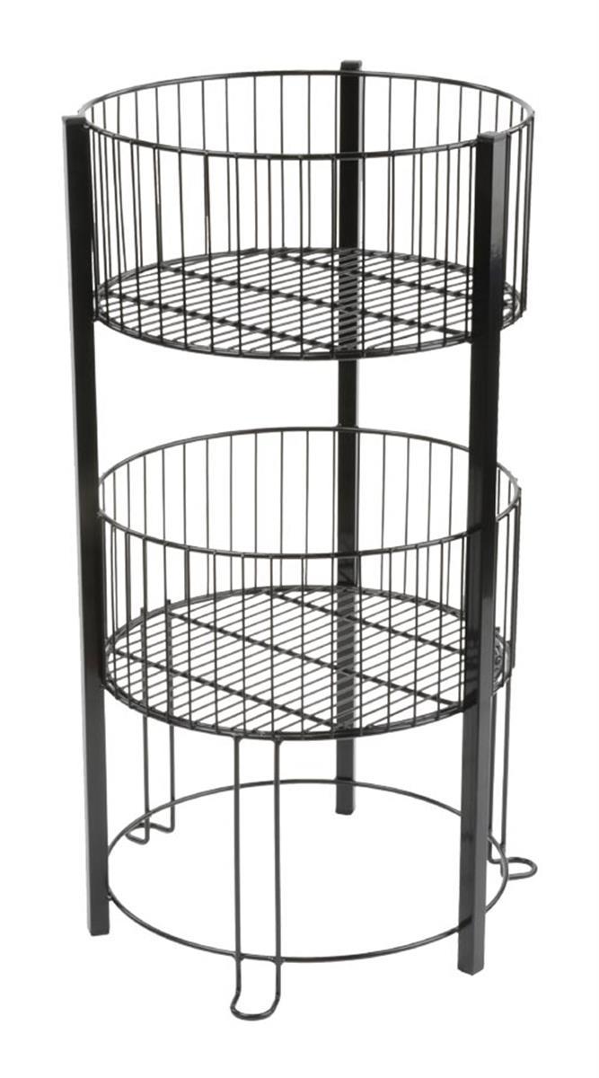 2 Tier Basket Stand Stackable Open Top Round Bins