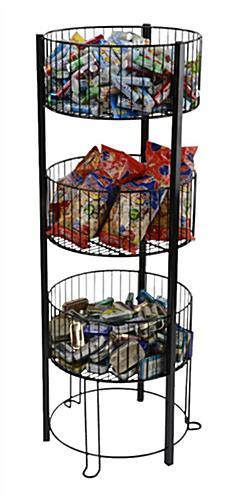 Tiered Basket Floor Stand Metal Standing Wire Retail Bin
