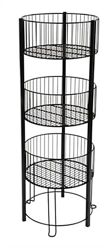 Tiered Basket Floor Stand Metal Standing Wire Retail Bin