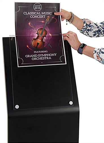 Large Black Laminate Sign Stand with Top Insert Loading Style