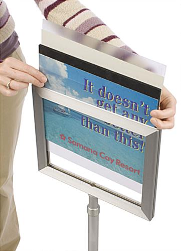 Sign Displays Feature Satin Silver Finish & Landscape Orientation