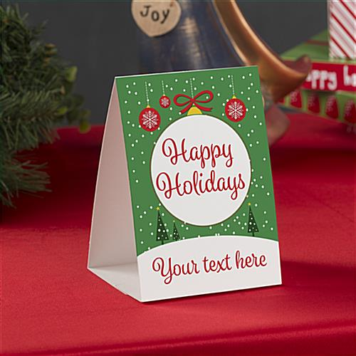 Happy Holidays promotional table tent double sided