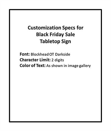 Promotional Black Friday table tent with custom text field