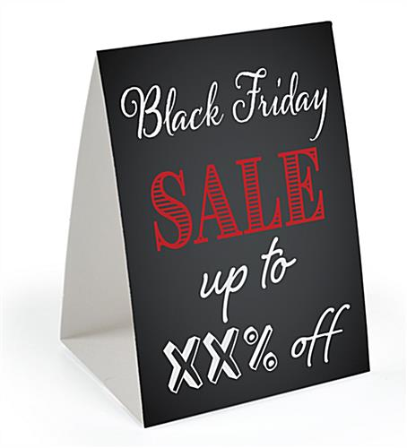 "Promotional ""Black Friday"" table tent with double-sided design"