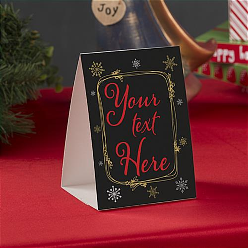Custom printed holiday table tent for seasonal advertising