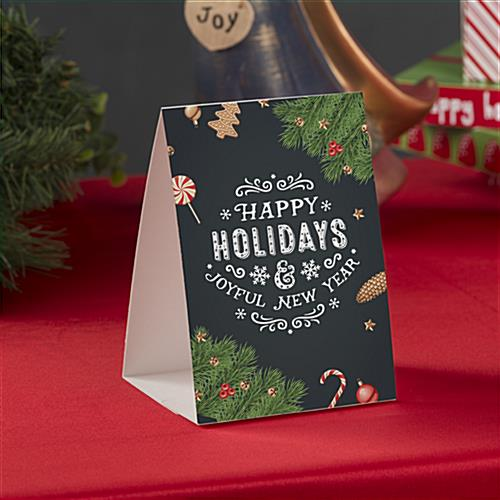 """Happy Holidays"" table tent for retail with double-sided printing"