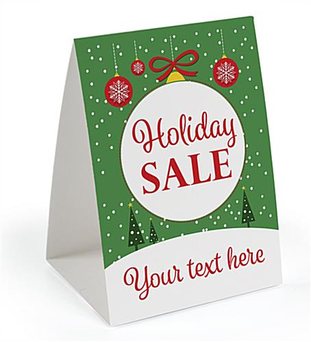 """Holiday Sale"" promotional table tent with pre-printing"