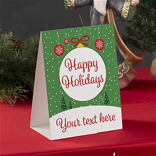 Happy Holidays table tent with green ornament theme