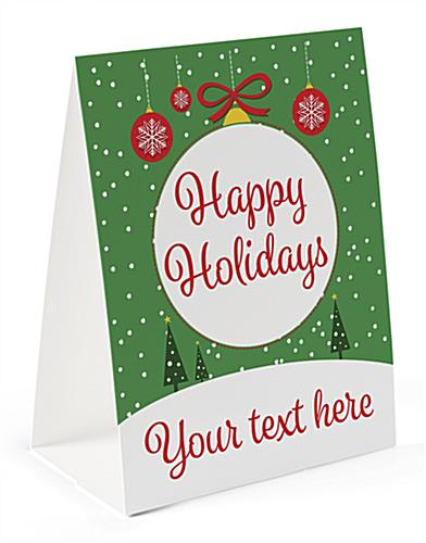 Happy Holidays table tent with pre-printed custom text & stock graphic