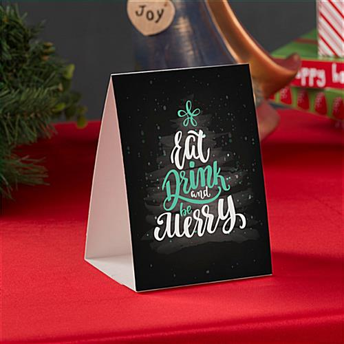 "Promotional ""Eat, Drink, Be Merry"" table tent with interlocking base"