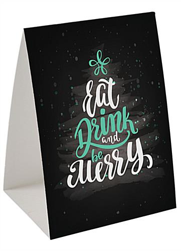 "Promotional ""Eat, Drink, Be Merry"" table tent with double-sided artwork"