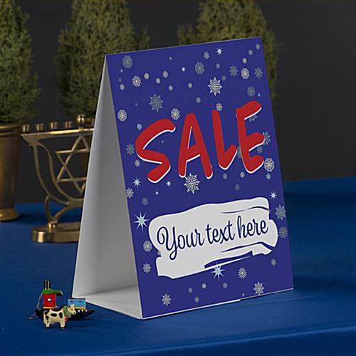 Paper holiday advertising table tent double sided card stock
