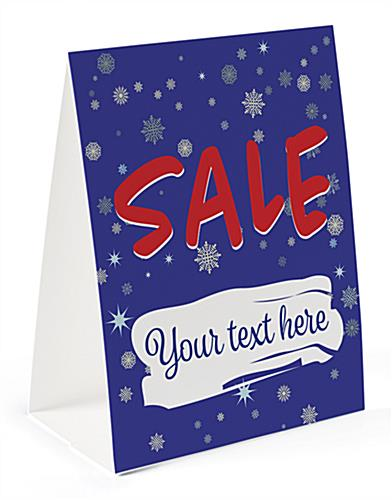 Paper holiday advertising table tent with custom text option