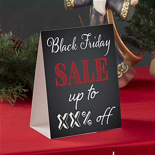 "Table tent for ""Black Friday"" with countertop placement"