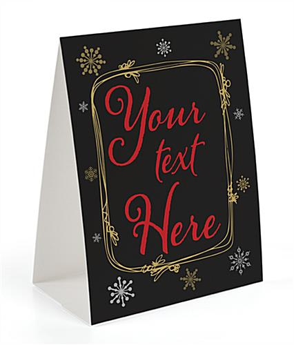 Custom text holiday table tent with trendy chalkboard theme